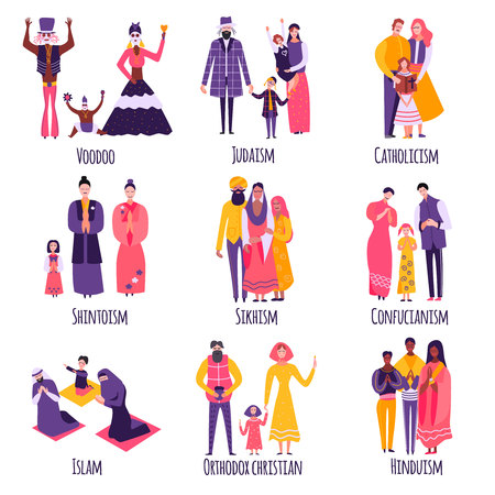 Different religious families, parents and kids in traditional clothing set of flat icons isolated vector illustration Illustration