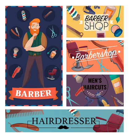 Barber shop cartoon cards with master and professional accessories for shaving and hair cuts isolated vector illustration Illustration