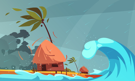 Natural disasters composition with rain and tsunami on ocean front with bungalow and tropical coast background vector illustration Illustration