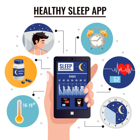 Healthy sleep app design concept with graph of sleep stages on screen of smartphone in human hand vector illustration