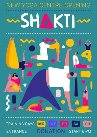 Yoga center platte poster met mensen silhouetten opleiding asana's vector illustratie