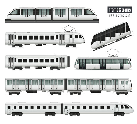 Passenger tram train realistic set with isolated images of public transport railroad cars and electric trams vector illustration