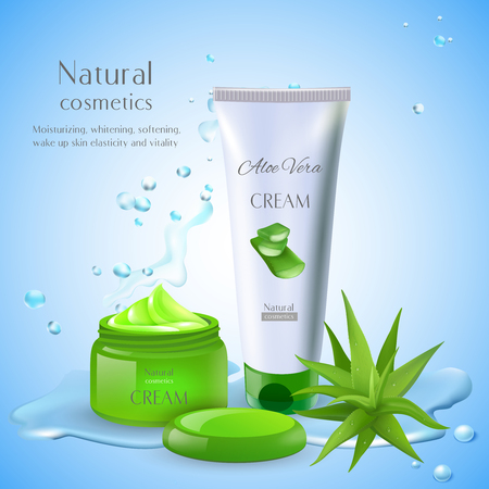 Aloe vera background with editable text and cosmetic products with packages for cream and water drops vector illustration