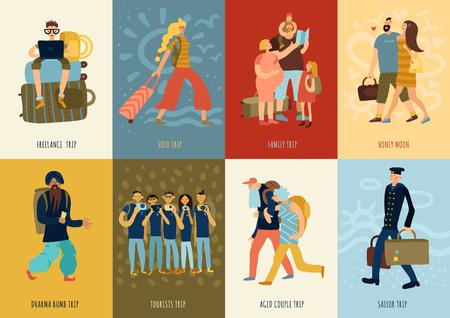 Reiskaarten die met familie en solo reissymbolen vlakke geïsoleerde vectorillustratie worden geplaatst;