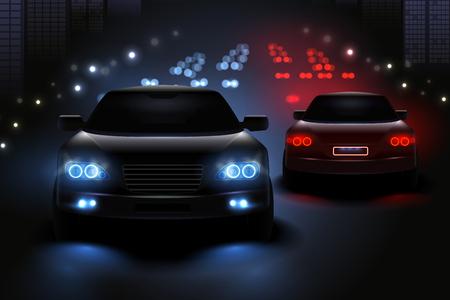 Realistyczna kompozycja świateł samochodowych z widokiem na nocną drogę i sylwetki ilustracji wektorowych świateł drogowych w samochodzie