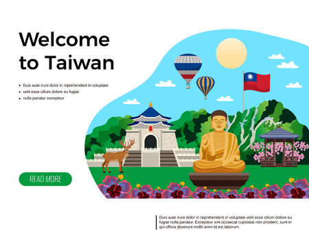 Welcome to taiwan travel agency website design composition with golden buddha image nature flag flat vector illustration Standard-Bild - 106226654