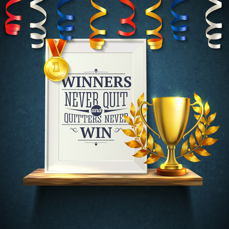 Winners quotes with quitters victory and cup symbols realistic vector illustration