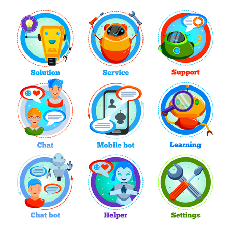 Chat bot flat icons with automatic program for support service, settings, learning, friendly communication isolated vector illustration