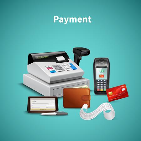 Procesamiento de pagos en la billetera terminal pos con composición realista de la caja registradora de dinero en la ilustración de vector de fondo turquesa