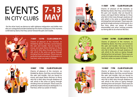 City clubs events information schedule infographic poster with reading meditation dancing party creative modeling community vector illustration