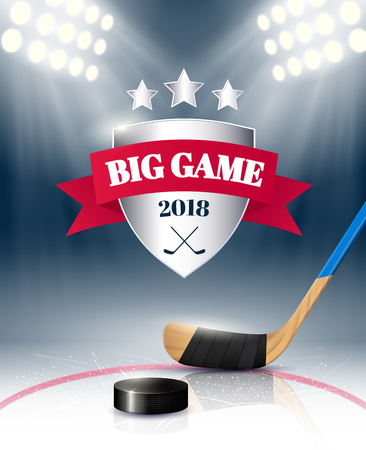 Big sport game poster realistic with hockey stick and puck on stadium ice illumined by spotlights vector illustration
