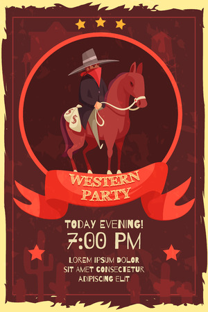 Cowboy poster with flat archetypic human character of wild west horseman with editable announcement text description vector illustration Ilustração