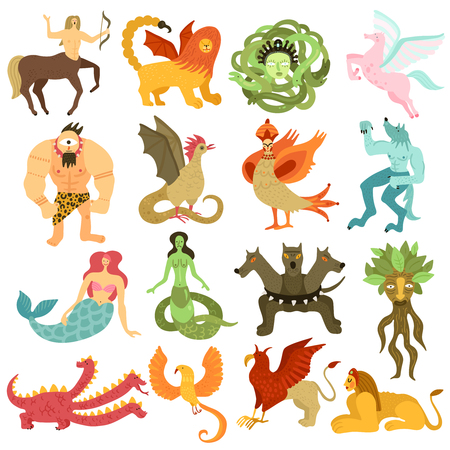 Mythical creatures characters colorful set with mermaid pegasus centaur chimera dragon cyclopes gorgon medusa isolated vector illustration