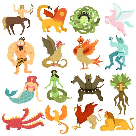 Personajes de criaturas míticas conjunto colorido con sirena pegaso centauro quimera dragón cíclopes gorgon medusa aislado ilustración vectorial Ilustración de vector