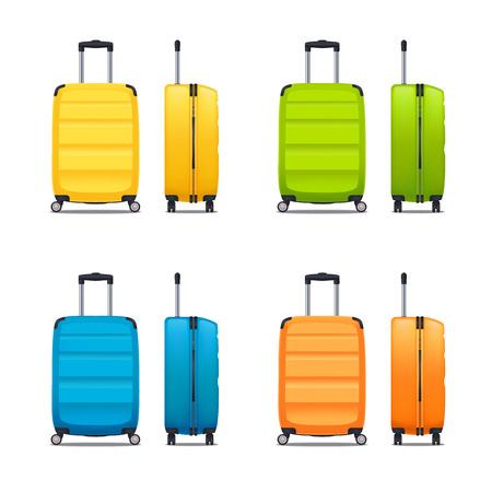 Ensemble coloré de valises en plastique modernes avec roues et poignée rétractable en illustration vectorielle réaliste de vue avant et latérale