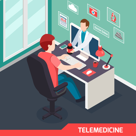 Modern medical technology isometric composition with alternative telemedicine service virtual doctor online private consultation prescription vector illustration