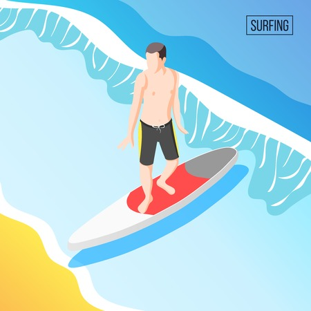 Extreme water sports isometric background with healthy athletic man on summer vacation balancing on surfboard vector illustration