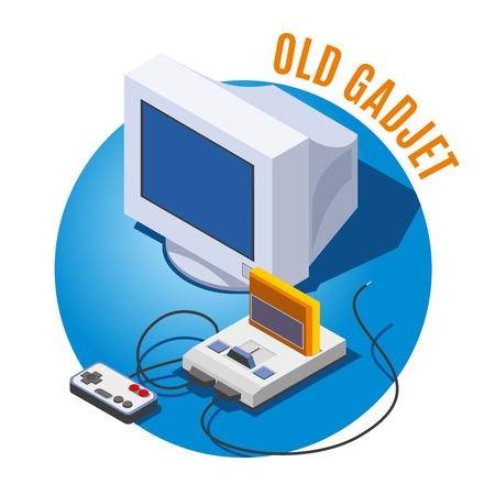 Old gadgets monitor of personal computer and game console with  cartridge on blue background isometric  vector illustration Imagens - 106993557