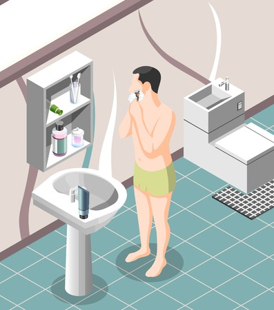 Personal hygiene isometric background with man in underwear shaving by razor near sink in bathroom interior vector illustration Stock Illustratie