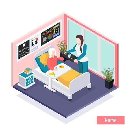Isometrische Zusammensetzung der Einrichtung für betreutes Wohnen älterer Menschen in Pflegeheimen mit Personal, das für die Vektorillustration der Bewohner sorgt