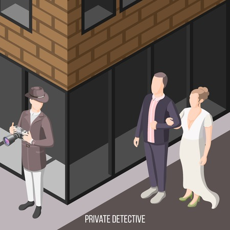 Private detective isometric background with person in hat watching from corner for pair of lovers vector illustration
