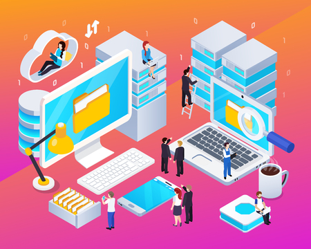 Big data streams processing analysis technologies tools isometric colorful glow composition with computer cloud office vector illustration Illustration