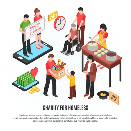 Charity for homeless design concept with volunteers donating toys money and feeding free food isometric vector illustration