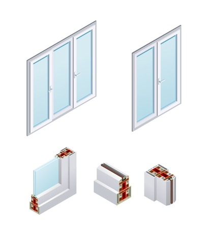 Pvc windows and frame elements with glass isometric icons isolated on white background vector illustration