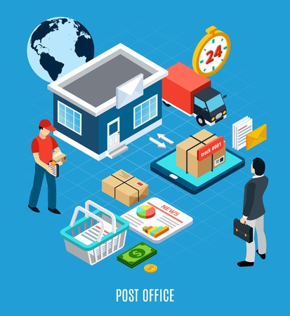 Mail isometric composition with approximate scheme of the post office and post office headline vector illustration Illustration