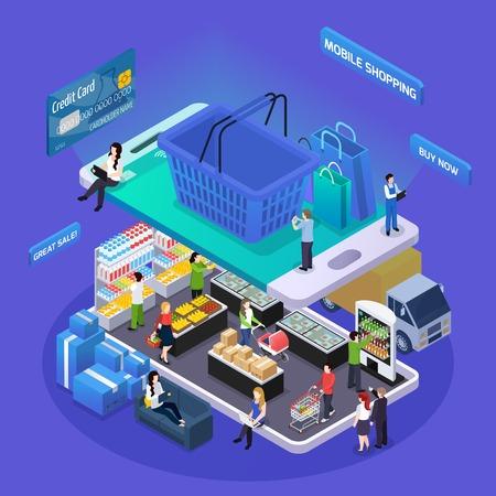 Negozio di alimentari in linea della composizione isometrica della composizione isometrica di acquisto di commercio elettronico sull'illustrazione di vettore dei clienti del canestro dello schermo del dispositivo mobile