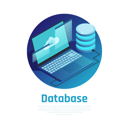 Database blue round design concept with laptop connected to cloud computing network  isometric vector illustration