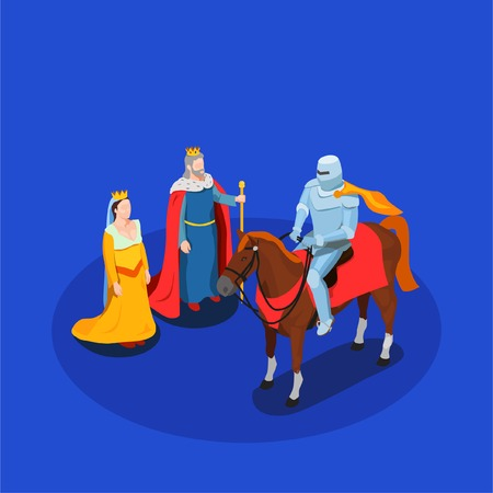 Medieval chivalry isometric composition king and queen knight in armor on horse on blue background vector illustration