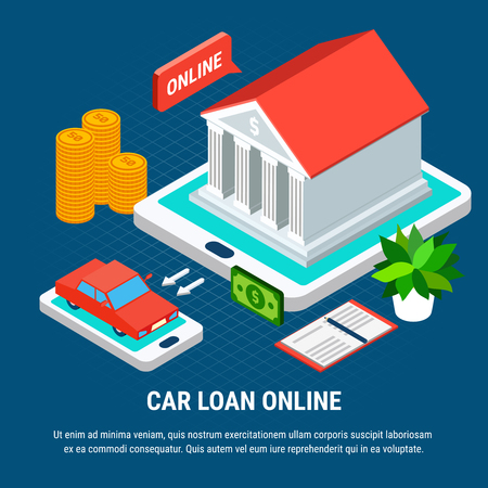 Loans isometric background composition with combined conceptual images of touch screen gadgets bank building and car vector illustration Illusztráció