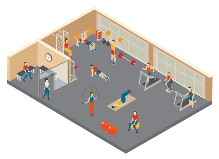 Fitness isometrische compositie met afbeeldingen van mensen die trainen in een sporthal met fitnessapparatuur, vectorillustratie