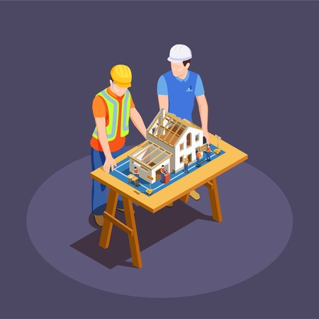 Architect and foreman with house construction project on wooden desk isometric composition on dark background vector illustration