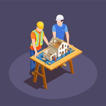 Architekt und Vorarbeiter mit Hausbauprojekt auf isometrischer Zusammensetzung des hölzernen Schreibtisches auf dunklem Hintergrundvektorillustration