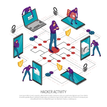 Hacker stealing money and personal information isometric flowchart on white background 3d vector illustration