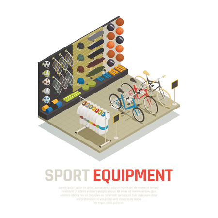 Stop shelves with sport equipment tennis racket skateboards mats for yoga and bicycles isometric composition vector illustration Illustration