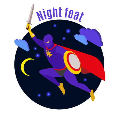 Super hero with sword and shield during night activity on dark background isometric vector illustration