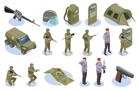 Ensemble d'icônes isométriques des forces spéciales militaires avec des soldats en uniforme et des éléments d'armement isolés illustration vectorielle