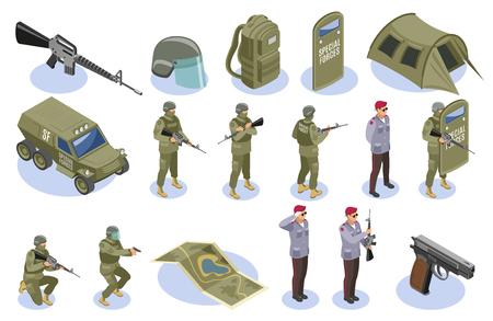 L'insieme delle forze speciali militari delle icone isometriche con i soldati in uniforme e gli elementi dell'armamento ha isolato l'illustrazione di vettore