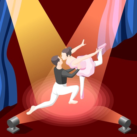 Colorful isometric vector illustration of couple dancing ballet on stage illuminated by spotlights