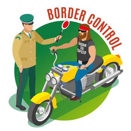 Border control isometric round composition with frontier guard during biker verification on green background vector illustration Illustration
