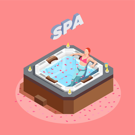 Woman in bath with rose petals during water therapy isometric composition on pink background vector illustration