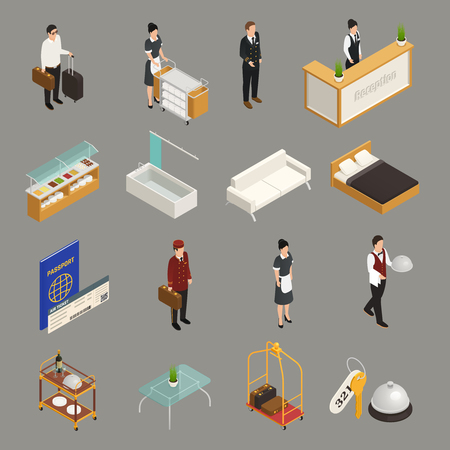 Hotel service and staff tourist with luggage furniture isometric icons isolated on grey background vector illustration