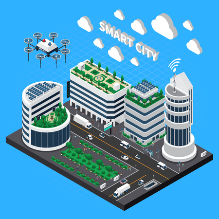 Smart city technology isometric concept with transport and clean city symbols vector illustration Illustration