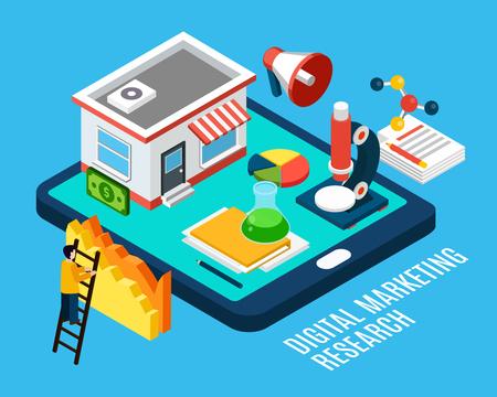 Concepto isométrico de herramientas e investigación de marketing digital sobre fondo azul ilustración vectorial 3d