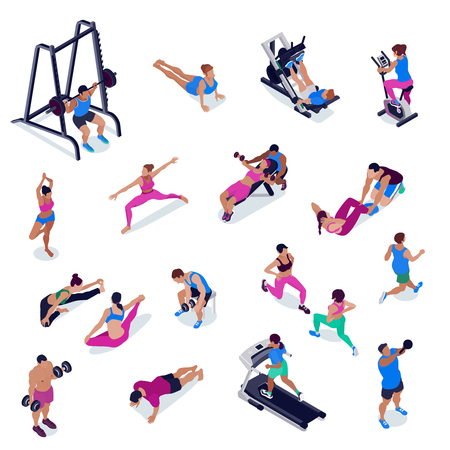 Persone che fanno fitness e yoga nell'insieme isometrico della palestra isolato nell'illustrazione bianca di vettore del fondo 3d Vettoriali