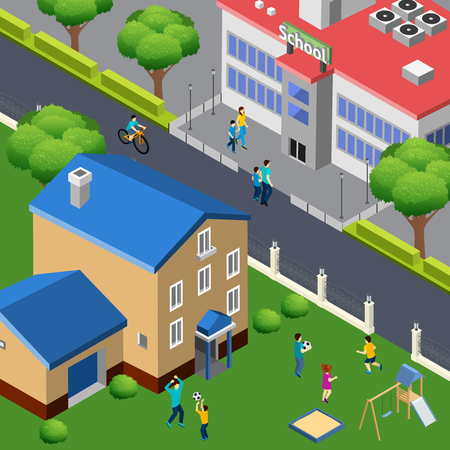 Family outdoor activities isometric composition with children playing on city house lawn with school across street vector illustration Illustration