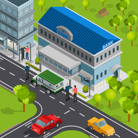 Bank isometric composition with view of city street and building with cash delivery vehicle and people vector illustration